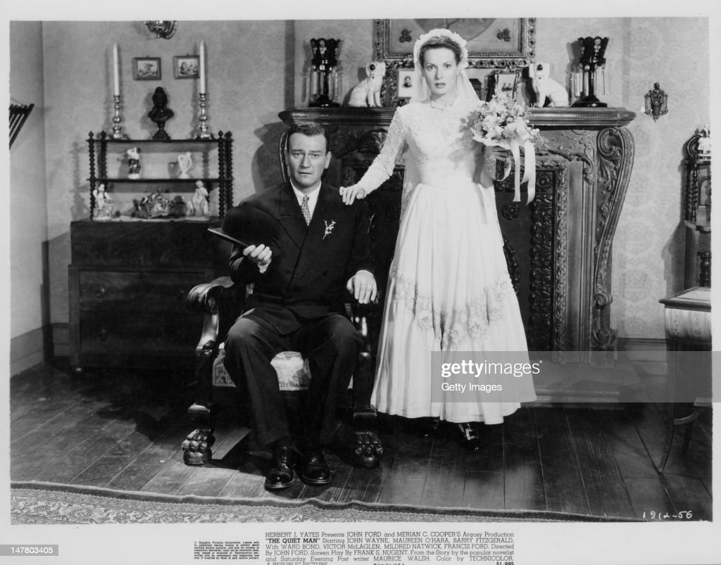 Actors <a gi-track='captionPersonalityLinkClicked' href=/galleries/search?phrase=John+Wayne&family=editorial&specificpeople=69997 ng-click='$event.stopPropagation()'>John Wayne</a> (1907 - 1979) and <a gi-track='captionPersonalityLinkClicked' href=/galleries/search?phrase=Maureen+O%27Hara&family=editorial&specificpeople=217226 ng-click='$event.stopPropagation()'>Maureen O'Hara</a> star in the Republic Pictures Corporation film 'The Quiet Man', 1952.