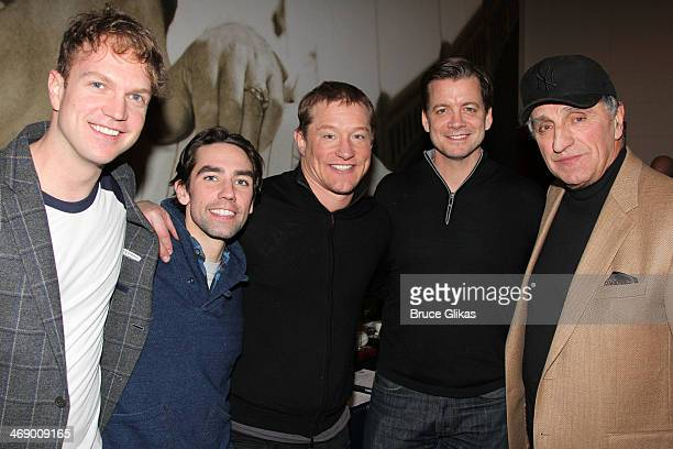 Actors John Wernke Keith Nobbs Bill Dawes Chris Henry Coffey and Former New York Yankee Joe Pepitone pose at 'Bronx Bombers' on Broadway at The...