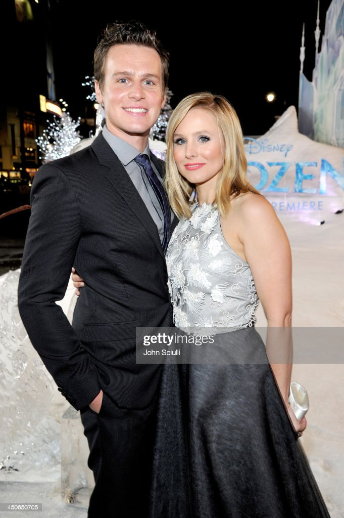 Actors Johnathan Groff and Kristen Bell attend The World Premiere of Walt Disney Animation Studios' 'Frozen' at El Capitan Theatre on November 19...