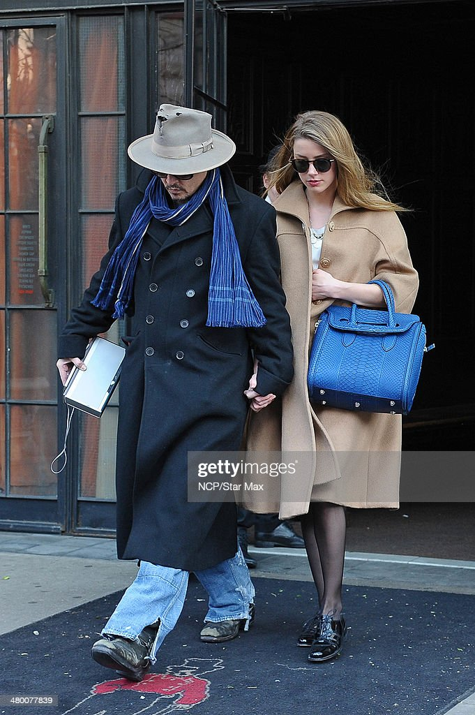 Actors Johnny Depp and Amber Heard are seen on March 22, 2014 in New York City.