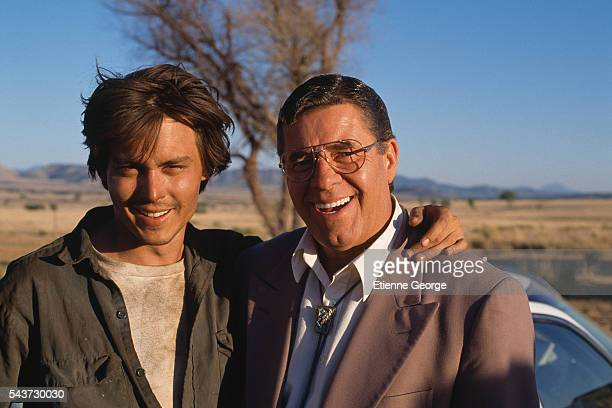 Actors Johnny Depp and Jerry Lewis on the set of Arizona Dream, directed by Serbian director Emir Kusturica.