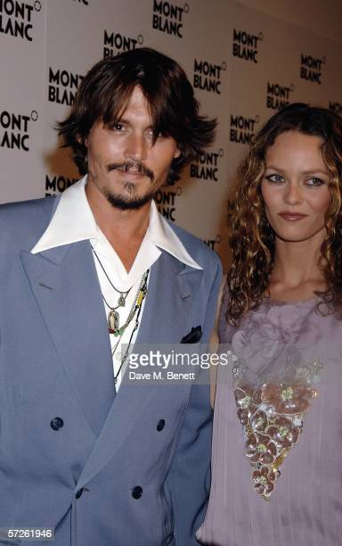 Actors Johnny Depp and Vanessa Paradis attend the 100th Anniversary gala celebration in a fantastic recreation on the summit of Mont Blanc with a...