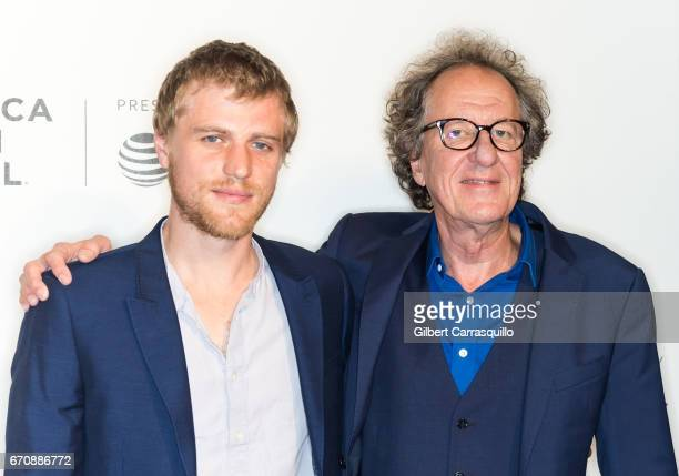 Actors Johnny Flynn and Geoffrey Rush attend the 'Genius' Premiere during the 2017 Tribeca Film Festival at BMCC Tribeca PAC on April 20 2017 in New...