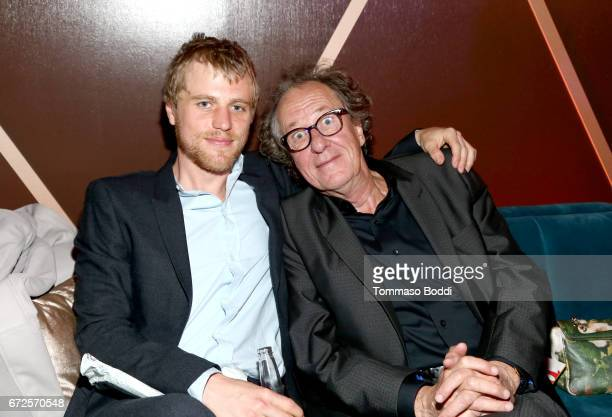 Actors Johnny Flynn and Geoffrey Rush attend the Los Angeles Premiere Screening of National Geographics 'Genius' the Fox Theater on April 24 2017 in...