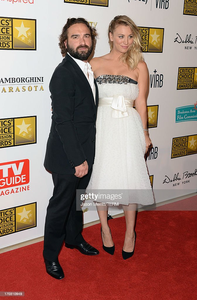 Actors Johnny Galecki and Kaley Cuoco arrive at Broadcast Television Journalists Association's third annual Critics' Choice Television Awards at The Beverly Hilton Hotel on June 10, 2013 in Beverly Hills, California.