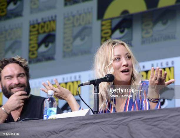 Actors Johnny Galecki and Kaley Cuoco speak onstage at ComicCon International 2017 'The Big Bang Theory' panel at San Diego Convention Center on July...