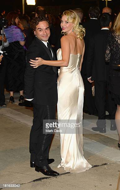 Actors Johnny Galecki and Kelli Garner attend the Governors Ball during the 65th Annual Primetime Emmy Awards at Nokia Theatre LA Live on September...