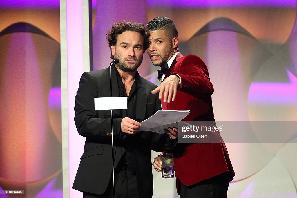 Actors <a gi-track='captionPersonalityLinkClicked' href=/galleries/search?phrase=Johnny+Galecki&family=editorial&specificpeople=832098 ng-click='$event.stopPropagation()'>Johnny Galecki</a> (L) and <a gi-track='captionPersonalityLinkClicked' href=/galleries/search?phrase=Wilson+Cruz&family=editorial&specificpeople=660625 ng-click='$event.stopPropagation()'>Wilson Cruz</a> speak onstage during the 25th Annual GLAAD Media Awards at The Beverly Hilton Hotel on April 12, 2014 in Beverly Hills, California.