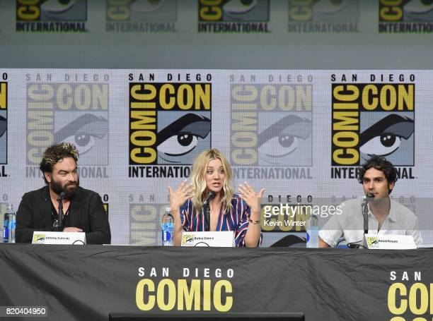 Actors Johnny Galecki Kaley Cuoco and Kunal Nayyar speak onstage at the 'The Big Bang Theory' panel during ComicCon International 2017 at San Diego...