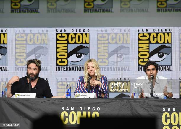 Actors Johnny Galecki Kaley Cuoco and Kunal Nayyar speak onstage at ComicCon International 2017 'The Big Bang Theory' panel at San Diego Convention...