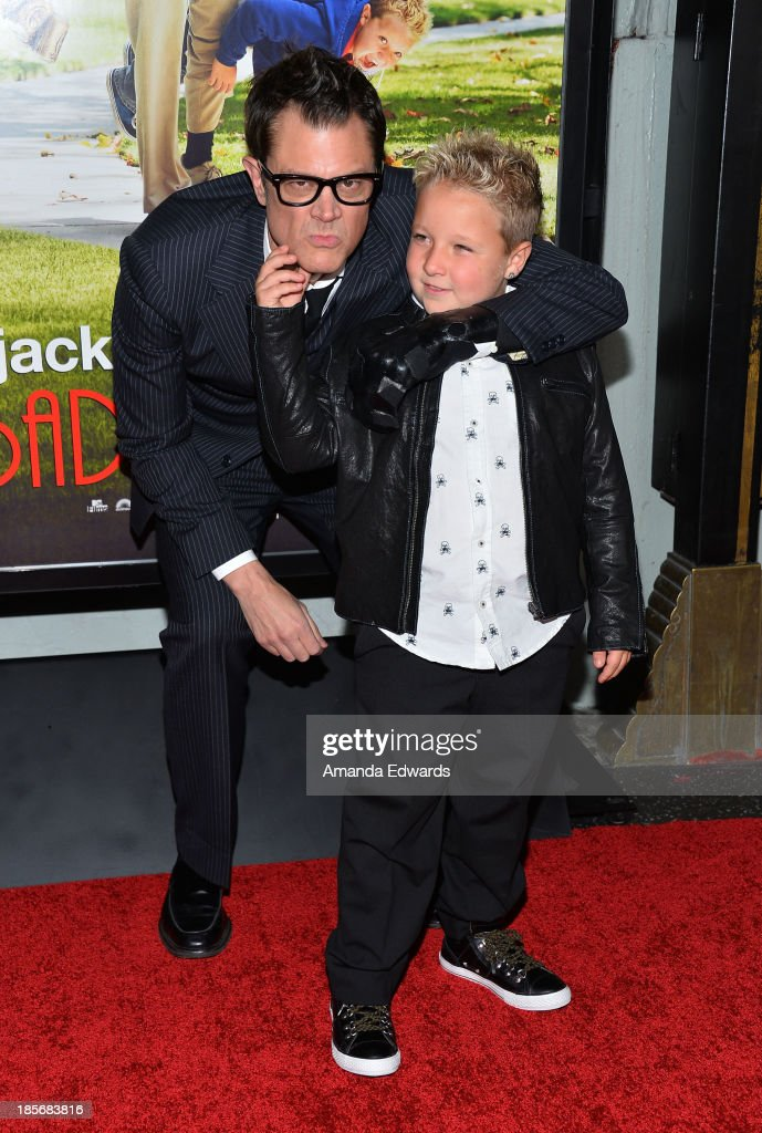 Actors <a gi-track='captionPersonalityLinkClicked' href=/galleries/search?phrase=Johnny+Knoxville&family=editorial&specificpeople=206210 ng-click='$event.stopPropagation()'>Johnny Knoxville</a> (L) and Jackson Nicoll arrive at the Los Angeles premiere of 'Jackass Presents: Bad Grandpa' at TCL Chinese Theatre on October 23, 2013 in Hollywood, California.