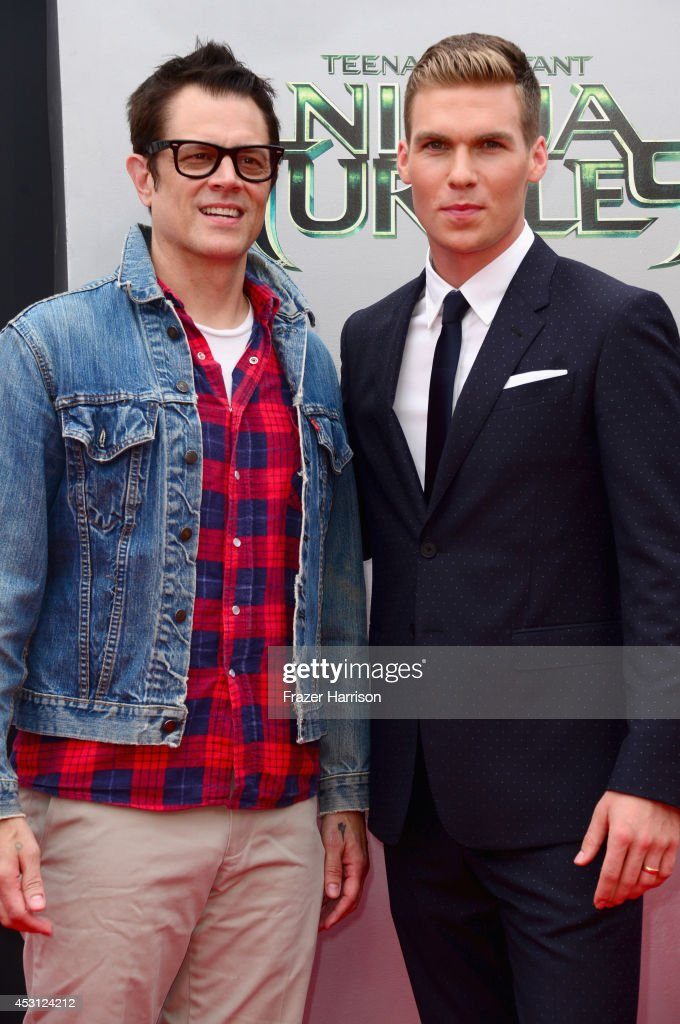 Actors Johnny Knoxville and Pete Ploszek attend Paramount Pictures' 'Teenage Mutant Ninja Turtles' premiere at Regency Village Theatre on August 3, 2014 in Westwood, California.