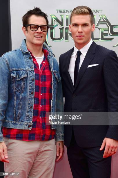 Actors Johnny Knoxville and Pete Ploszek attend Paramount Pictures' 'Teenage Mutant Ninja Turtles' premiere at Regency Village Theatre on August 3...