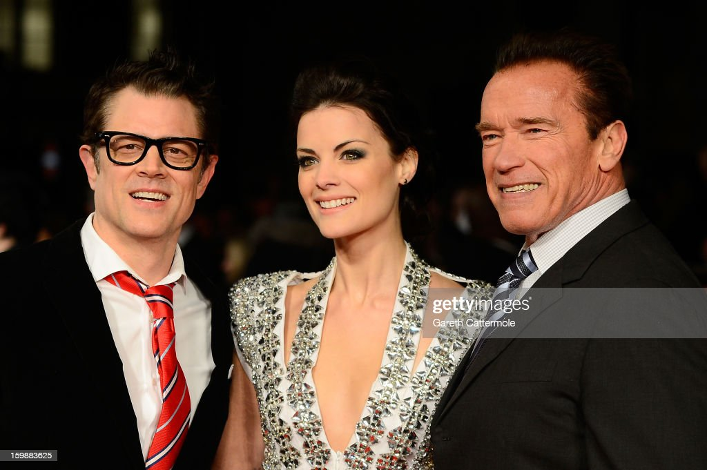 Actors <a gi-track='captionPersonalityLinkClicked' href=/galleries/search?phrase=Johnny+Knoxville&family=editorial&specificpeople=206210 ng-click='$event.stopPropagation()'>Johnny Knoxville</a>, <a gi-track='captionPersonalityLinkClicked' href=/galleries/search?phrase=Jaimie+Alexander&family=editorial&specificpeople=544496 ng-click='$event.stopPropagation()'>Jaimie Alexander</a> and <a gi-track='captionPersonalityLinkClicked' href=/galleries/search?phrase=Arnold+Schwarzenegger&family=editorial&specificpeople=156406 ng-click='$event.stopPropagation()'>Arnold Schwarzenegger</a> attend the European Premiere of 'The Last Stand' at Odeon West End on January 22, 2013 in London, England.