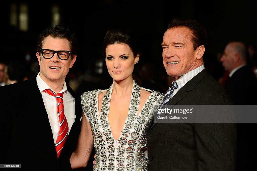 Actors Johnny Knoxville, Jaimie Alexander and Arnold Schwarzenegger attend the European Premiere of 'The Last Stand' at Odeon West End on January 22, 2013 in London, England.