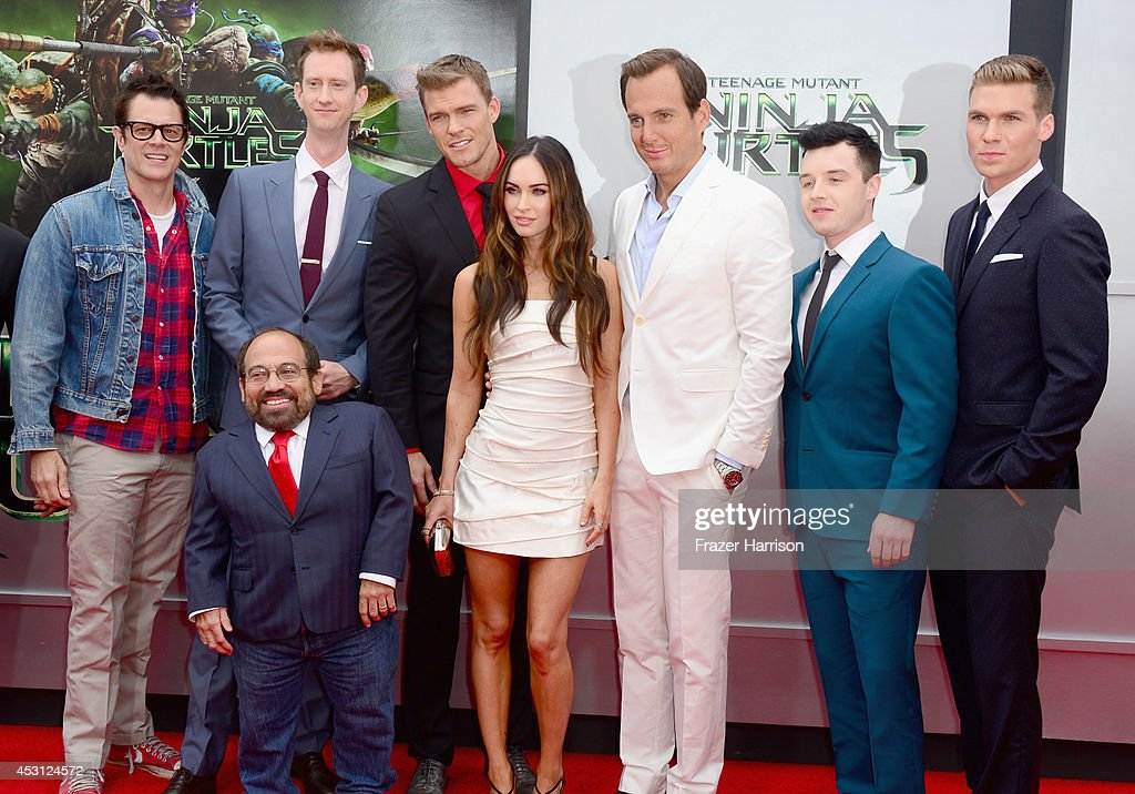 Actors Johnny Knoxville, Jeremy Howard, Alan Ritchson, Megan Fox, Will Arnett, Noel Fisher, Pete Ploszek and Danny Woodburn (Front) attend Paramount Pictures' 'Teenage Mutant Ninja Turtles' premiere at Regency Village Theatre on August 3, 2014 in Westwood, California.