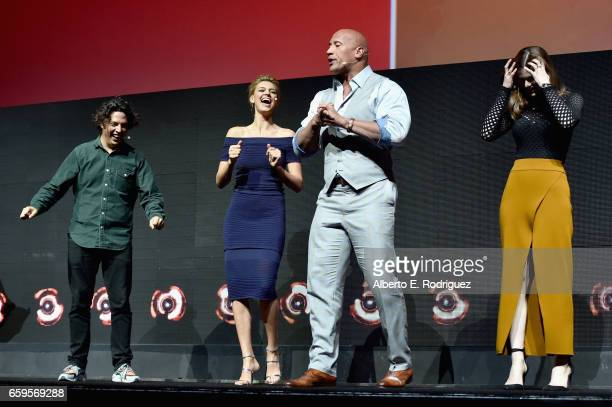 Actors Jon Bass Kelly Rohrbach Dwayne Johnson and Alexandra Daddario speak onstage at CinemaCon 2017 Paramount Pictures Presentation Highlighting Its...
