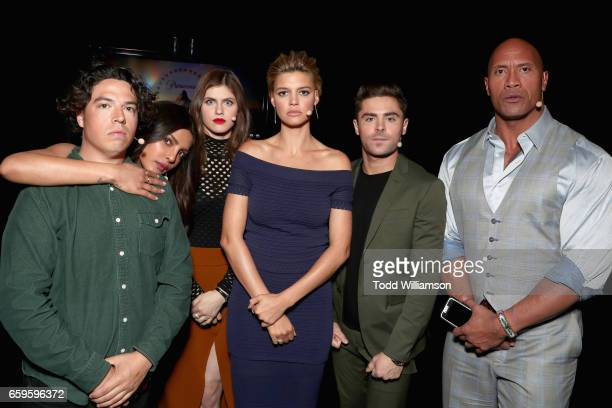 Actors Jon Bass Priyanka Chopra Alexandra Daddario Kelly Rohrbach Zac Efron and Dwayne Johnson at CinemaCon 2017 Paramount Pictures Presentation...