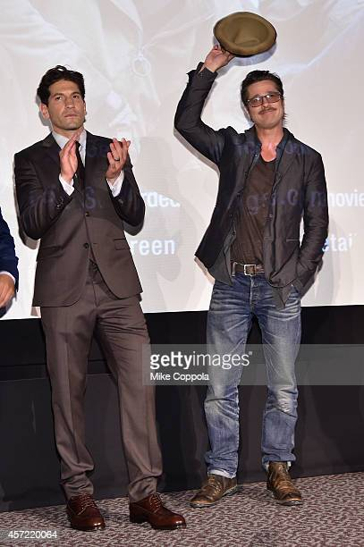 Actors Jon Bernthal and Brad Pitt attend the 'Fury' New York premiere at DGA Theater on October 14 2014 in New York City