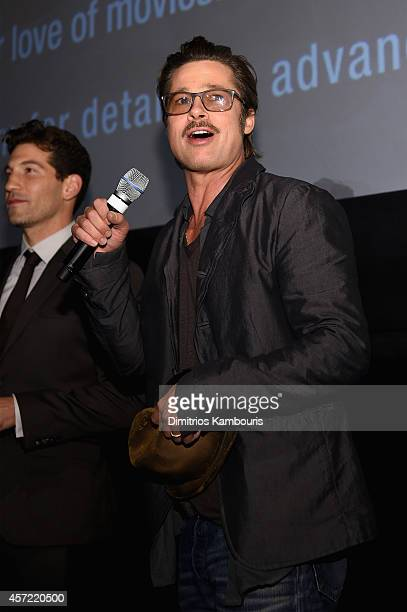 Actors Jon Bernthal and Brad Pitt attend the 'Fury' New York premiere at AMC Lincoln Square Theater on October 14 2014 in New York City