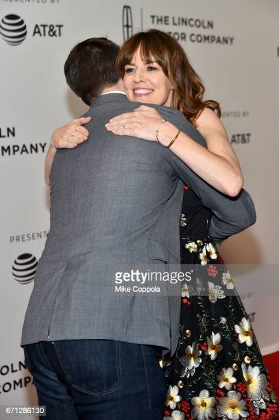Actors Jon Bernthal and Rosmarie DeWitt embrace at the 'Sweet Virginia' Premiere during 2017 Tribeca Film Festival at Cinepolis Chelsea on April 21...