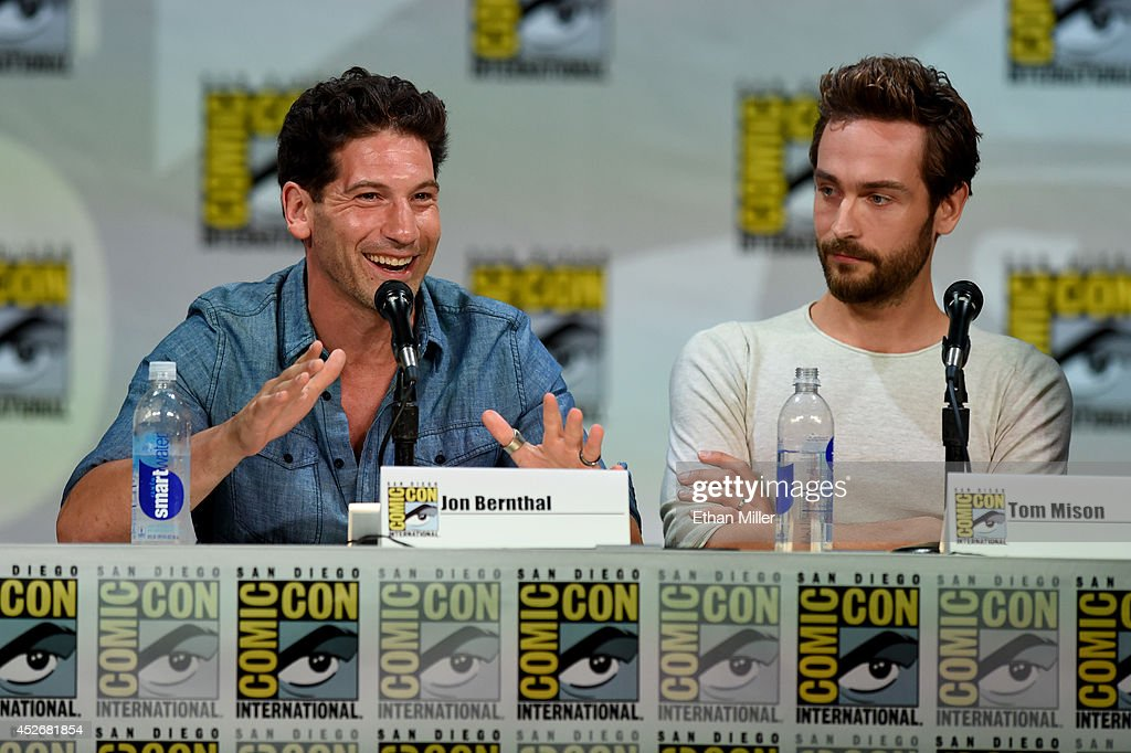 Actors Jon Bernthal (L) and Tom Mison attend the Entertainment Weekly: Brave New Warriors panel during Comic-Con International 2014 at the San Diego Convention Center on July 25, 2014 in San Diego, California.