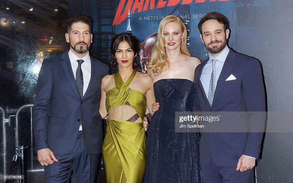 Actors Jon Bernthal, Elodie Yung, Deborah Ann Woll and Charlie Cox attend the 'Daredevil' season 2 premiere at AMC Loews Lincoln Square 13 theater on March 10, 2016 in New York City.
