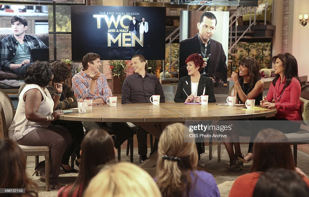 Actors <a gi-track='captionPersonalityLinkClicked' href=/galleries/search?phrase=Jon+Cryer&family=editorial&specificpeople=213483 ng-click='$event.stopPropagation()'>Jon Cryer</a> and <a gi-track='captionPersonalityLinkClicked' href=/galleries/search?phrase=Ashton+Kutcher&family=editorial&specificpeople=202015 ng-click='$event.stopPropagation()'>Ashton Kutcher</a> (CBS's 'Two and a Half Men') visit the ladies of 'The Talk,' Wednesday, October 29, 2014 on the CBS Television Network. From left, <a gi-track='captionPersonalityLinkClicked' href=/galleries/search?phrase=Sheryl+Underwood&family=editorial&specificpeople=778885 ng-click='$event.stopPropagation()'>Sheryl Underwood</a>, <a gi-track='captionPersonalityLinkClicked' href=/galleries/search?phrase=Sara+Gilbert&family=editorial&specificpeople=585732 ng-click='$event.stopPropagation()'>Sara Gilbert</a>, <a gi-track='captionPersonalityLinkClicked' href=/galleries/search?phrase=Ashton+Kutcher&family=editorial&specificpeople=202015 ng-click='$event.stopPropagation()'>Ashton Kutcher</a>, <a gi-track='captionPersonalityLinkClicked' href=/galleries/search?phrase=Jon+Cryer&family=editorial&specificpeople=213483 ng-click='$event.stopPropagation()'>Jon Cryer</a>, <a gi-track='captionPersonalityLinkClicked' href=/galleries/search?phrase=Sharon+Osbourne&family=editorial&specificpeople=203094 ng-click='$event.stopPropagation()'>Sharon Osbourne</a>, <a gi-track='captionPersonalityLinkClicked' href=/galleries/search?phrase=Aisha+Tyler&family=editorial&specificpeople=202262 ng-click='$event.stopPropagation()'>Aisha Tyler</a> and <a gi-track='captionPersonalityLinkClicked' href=/galleries/search?phrase=Julie+Chen&family=editorial&specificpeople=206213 ng-click='$event.stopPropagation()'>Julie Chen</a>, shown.