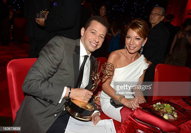 Actors Jon Cryer and Lisa Joyner attend the 64th Annual Primetime Emmy Awards Governors Ball at Nokia Theatre LA Live on September 23 2012 in Los...