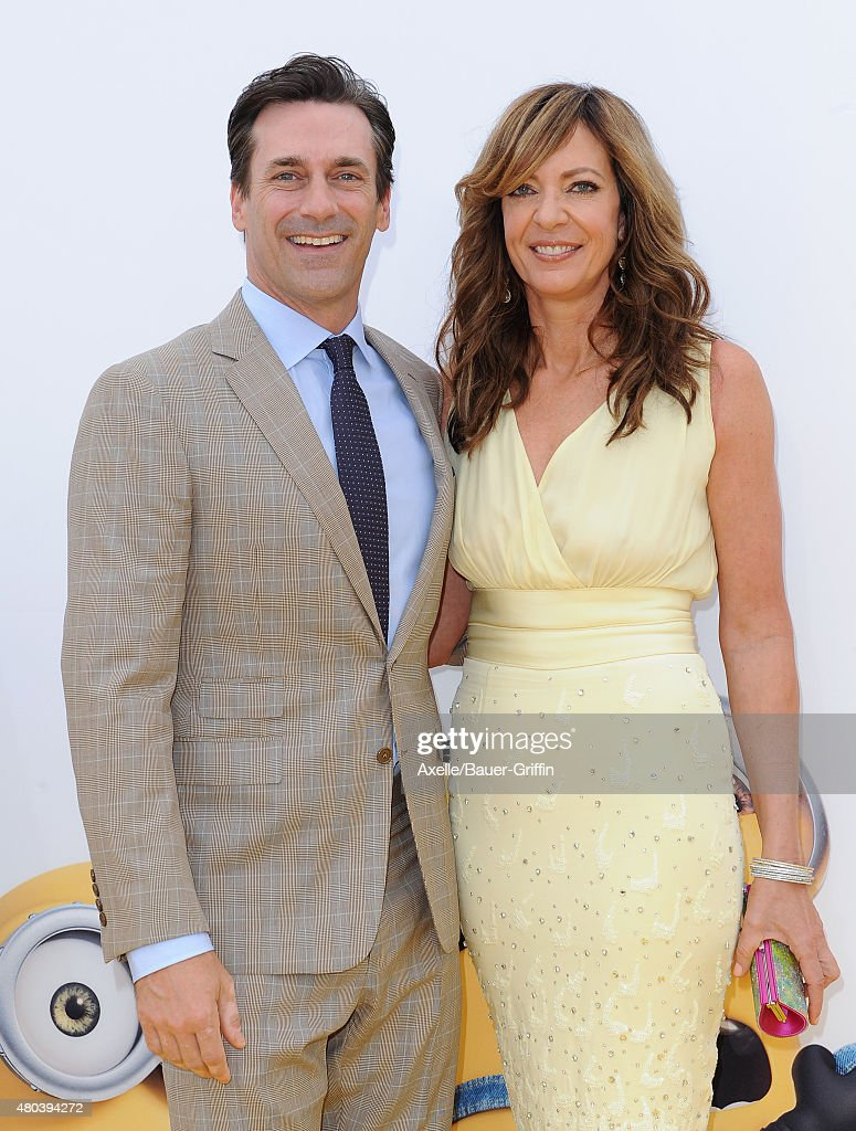 Actors Jon Hamm and Allison Janney arrive at the premiere of Universal Pictures and Illumination Entertainment's 'Minions' at The Shrine Auditorium on June 27, 2015 in Los Angeles, California.