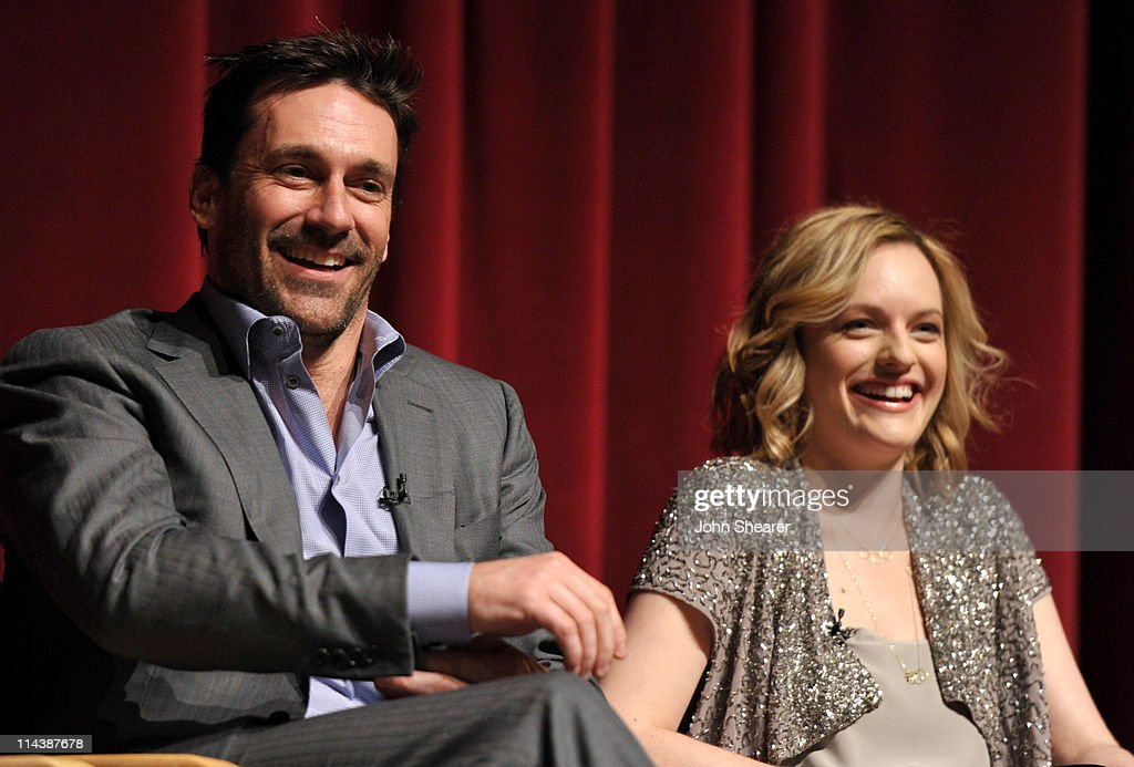 Actors <a gi-track='captionPersonalityLinkClicked' href=/galleries/search?phrase=Jon+Hamm&family=editorial&specificpeople=3027367 ng-click='$event.stopPropagation()'>Jon Hamm</a> and <a gi-track='captionPersonalityLinkClicked' href=/galleries/search?phrase=Elisabeth+Moss&family=editorial&specificpeople=3079265 ng-click='$event.stopPropagation()'>Elisabeth Moss</a> on stage at the 'Mad Men' ATAS Screening at Leonard Goldenson Theatre on May 18, 2011 in North Hollywood, California.