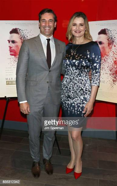 Actors Jon Hamm and Geena Davis attend the 'Marjorie Prime' New York premiere at Quad Cinema on August 18 2017 in New York City