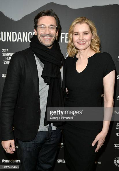 Actors Jon Hamm and Geena Davis attend the 'Marjorie Prime' Premiere at Eccles Center Theatre on January 23 2017 in Park City Utah