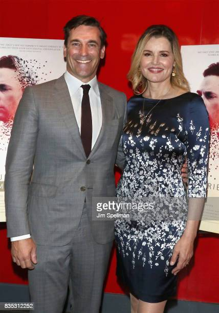 Actors Jon Hamm and Geena Davis attends the 'Marjorie Prime' New York premiere at Quad Cinema on August 18 2017 in New York City