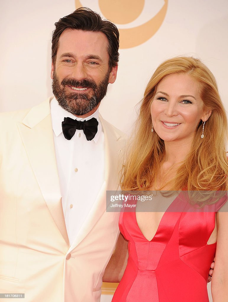 Actors Jon Hamm and Jennifer Westfeldt arrive at the 65th Annual Primetime Emmy Awards at Nokia Theatre LA Live on September 22 2013 in Los Angeles...