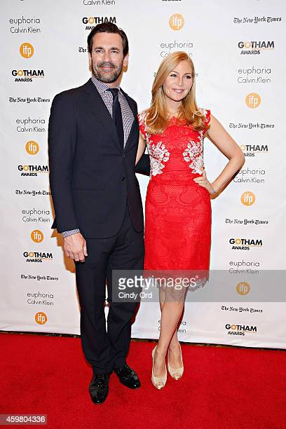 Actors Jon Hamm and Jennifer Westfeldt attend the 24th Annual Gotham Independent Film Awards at Cipriani Wall Street on December 1 2014 in New York...