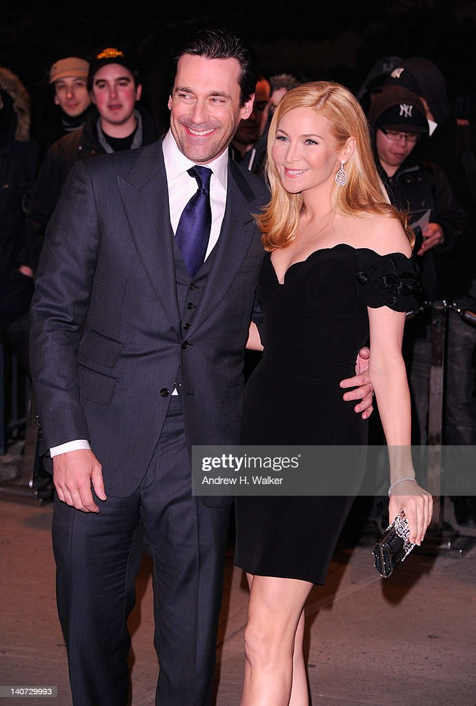 Actors <a gi-track='captionPersonalityLinkClicked' href=/galleries/search?phrase=Jon+Hamm&family=editorial&specificpeople=3027367 ng-click='$event.stopPropagation()'>Jon Hamm</a> and <a gi-track='captionPersonalityLinkClicked' href=/galleries/search?phrase=Jennifer+Westfeldt&family=editorial&specificpeople=228494 ng-click='$event.stopPropagation()'>Jennifer Westfeldt</a> attend the Cinema Society & People StyleWatch with Grey Goose screening of 'Friends With Kids' at the SVA Theater on March 5, 2012 in New York City.