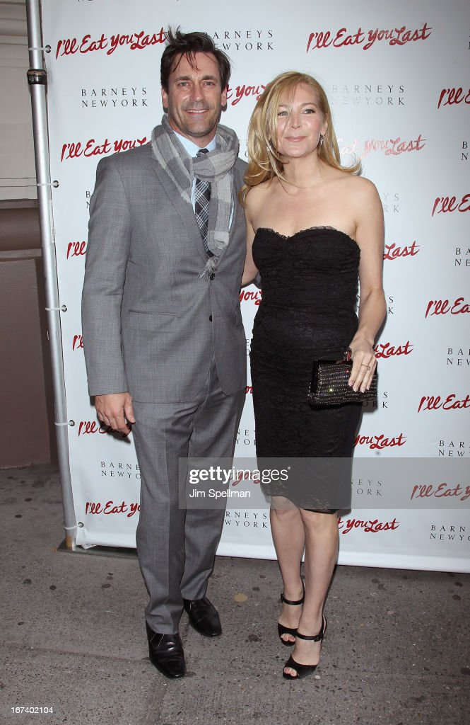 Actors <a gi-track='captionPersonalityLinkClicked' href=/galleries/search?phrase=Jon+Hamm&family=editorial&specificpeople=3027367 ng-click='$event.stopPropagation()'>Jon Hamm</a> and <a gi-track='captionPersonalityLinkClicked' href=/galleries/search?phrase=Jennifer+Westfeldt&family=editorial&specificpeople=228494 ng-click='$event.stopPropagation()'>Jennifer Westfeldt</a> attend the 'I'll Eat You Last' Broadway Opening Night at the Booth Theatre on April 24, 2013 in New York City.