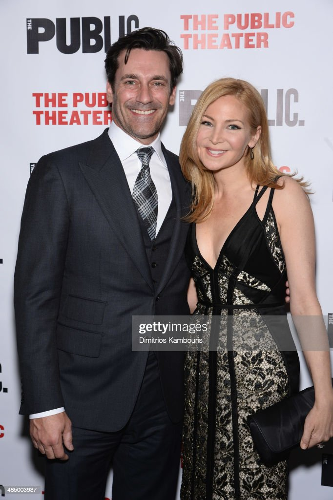 Actors <a gi-track='captionPersonalityLinkClicked' href=/galleries/search?phrase=Jon+Hamm&family=editorial&specificpeople=3027367 ng-click='$event.stopPropagation()'>Jon Hamm</a> and <a gi-track='captionPersonalityLinkClicked' href=/galleries/search?phrase=Jennifer+Westfeldt&family=editorial&specificpeople=228494 ng-click='$event.stopPropagation()'>Jennifer Westfeldt</a> attend 'The Library' opening night celebration at The Public Theater on April 15, 2014 in New York City.