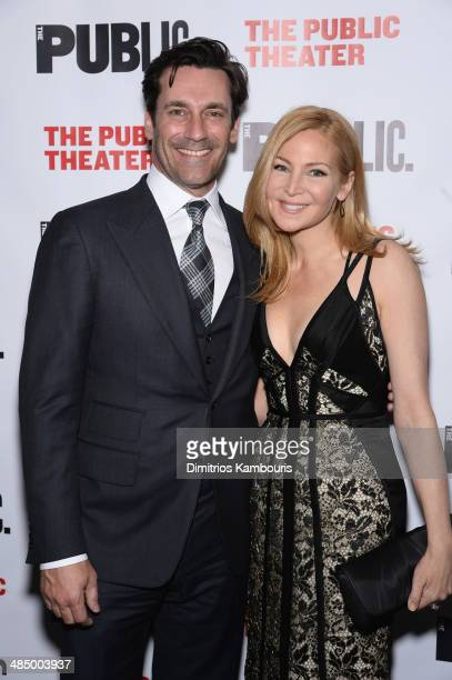 Actors Jon Hamm and Jennifer Westfeldt attend 'The Library' opening night celebration at The Public Theater on April 15 2014 in New York City