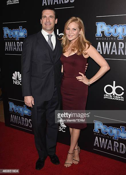 Actors Jon Hamm and Jennifer Westfeldt attend the PEOPLE Magazine Awards at The Beverly Hilton Hotel on December 18 2014 in Beverly Hills California