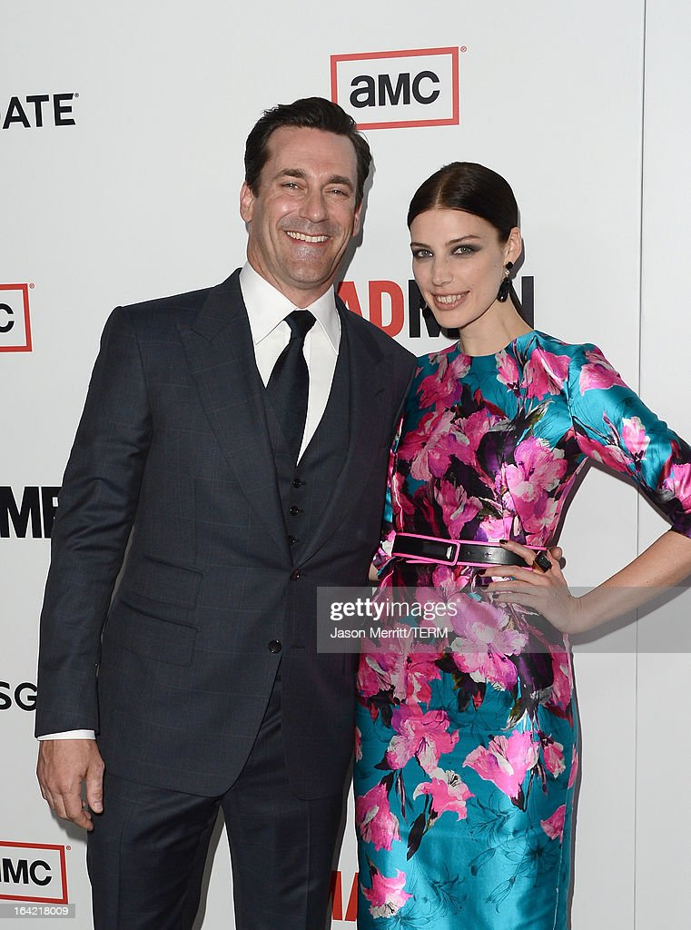 Actors Jon Hamm and Jessica Pare arrive at the Premiere of AMC's 'Mad Men' Season 6 at DGA Theater on March 20, 2013 in Los Angeles, California.