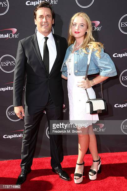 Actors Jon Hamm and Kathryn Newton attend The 2013 ESPY Awards at Nokia Theatre LA Live on July 17 2013 in Los Angeles California