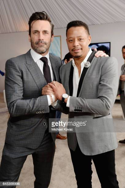 Actors Jon Hamm and Terrence Howard with Piaget at the 2017 Film Independent Spirit Awards at Santa Monica Pier on February 25 2017 in Santa Monica...