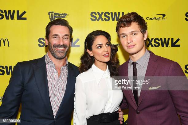 Actors Jon Hamm Eiza Gonzalez and Ansel Elgort attend the 'Baby Driver' premiere 2017 SXSW Conference and Festivals on March 11 2017 in Austin Texas