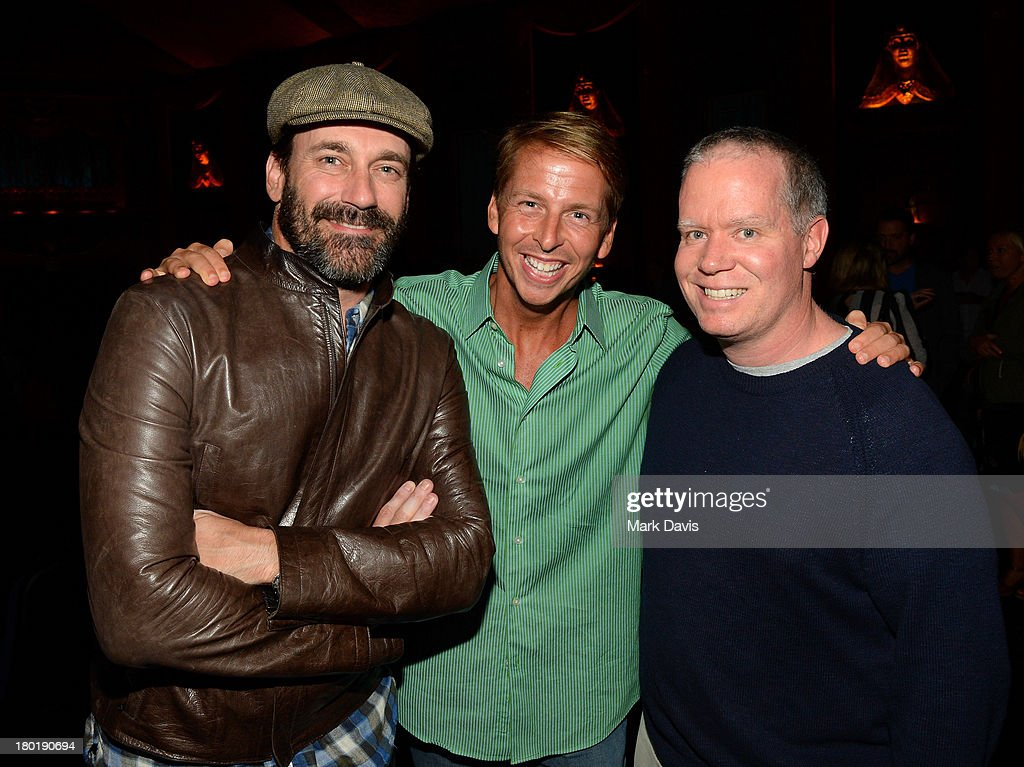 Actors <a gi-track='captionPersonalityLinkClicked' href=/galleries/search?phrase=Jon+Hamm&family=editorial&specificpeople=3027367 ng-click='$event.stopPropagation()'>Jon Hamm</a>, <a gi-track='captionPersonalityLinkClicked' href=/galleries/search?phrase=Jack+McBrayer&family=editorial&specificpeople=4100664 ng-click='$event.stopPropagation()'>Jack McBrayer</a>, and producer Owen Burke attend the 'Childrens Hospital' and 'NTSF:SD:SUV' screening event at the Vista Theatre on September 9, 2013 in Los Angeles, California. 24049_001_MD_0128.JPG
