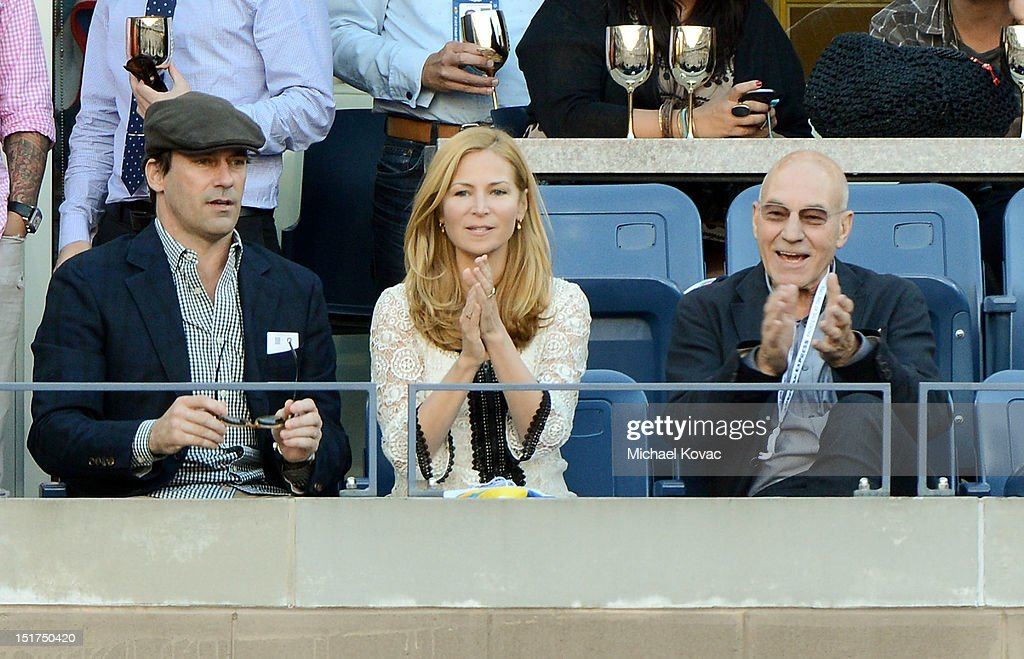 Actors <a gi-track='captionPersonalityLinkClicked' href=/galleries/search?phrase=Jon+Hamm&family=editorial&specificpeople=3027367 ng-click='$event.stopPropagation()'>Jon Hamm</a>, <a gi-track='captionPersonalityLinkClicked' href=/galleries/search?phrase=Jennifer+Westfeldt&family=editorial&specificpeople=228494 ng-click='$event.stopPropagation()'>Jennifer Westfeldt</a>, and <a gi-track='captionPersonalityLinkClicked' href=/galleries/search?phrase=Patrick+Stewart&family=editorial&specificpeople=203271 ng-click='$event.stopPropagation()'>Patrick Stewart</a> visit the Moet & Chandon Suite at the 2012 US Open at the USTA Billie Jean King National Tennis Center on September 10, 2012 in the Flushing neighborhood of the Queens borough of New York City.
