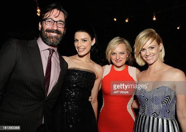 Actors Jon Hamm Jessica Paré Elisabeth Moss and January Jones attend Vanity Fair and Maybelline toast to 'Mad Men' at Chateau Marmont on September 20...