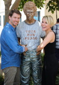 Actors Jon Heder and Tina Majorino attend 'Napoleon Dynamite' 10 sweet years BluRay/DVD release and statue dedication at The Fox Studio Lot on June 9...