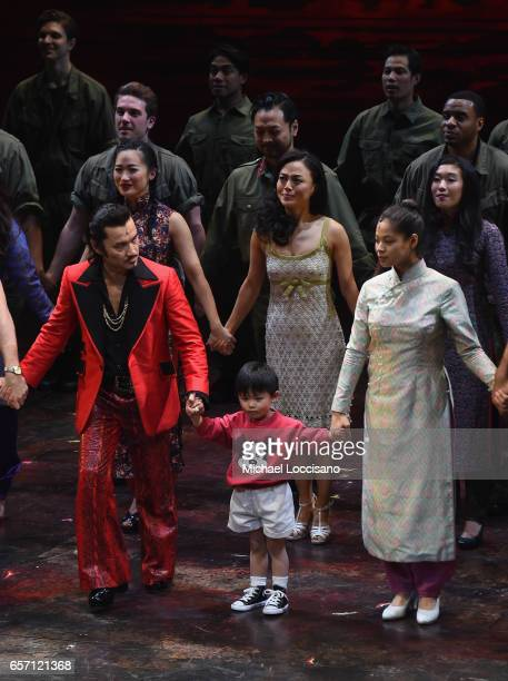 Actors Jon Jon Briones and Jace Chen and actress/singer Eva Noblezada take part in the curtain call on the opening night of 'Miss Saigon' Broadway at...